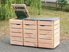 Backside triple bin box / bin cladding with stainless steel / wood - De . Recycling Bin Storage, Recycling Containers, Garden Tool Storage, Bike Storage, Storage Bins, Outdoor Storage, Garbage Can Storage, Garbage Shed, Bin Store Garden