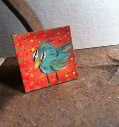 "Funky Bird Whimsical Painted Minature 1"" X 1"" Original A. Gambrel"