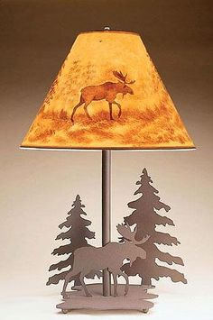Rustic Iron Moose And Pine Tree Table Lamp. Caribou Lake Lighting Is Hand  Made Lodge