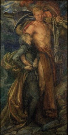 Labour and the Broken Heart by Eleanor Fortescue-Brickdale (Eleanor Fortescue Brickdale), Watercolor