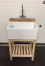 Wooden Unit For Belfast Butler Kitchen Sink With Oak Tap Ledge - Solid Wood