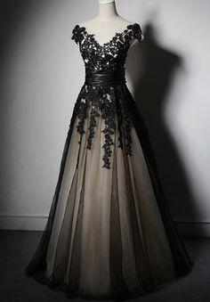 Beautiful Black Handmade Long Lace Applique Lace Up Black Prom Dresses 2017, Black Party Dresses, Evening Dresses