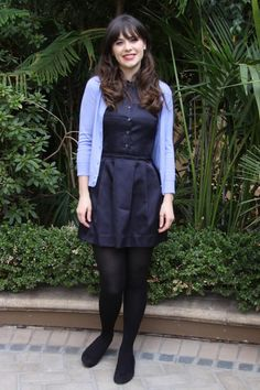 Picture of Zooey Deschanel New Girl Outfits, College Outfits, Cute Outfits, Zooey Deschanel Style, Emily Deschanel, Fashion Tights, Tights Outfit, New Girl Style, My Style