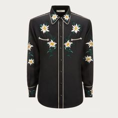 EMBROIDERED SWISS FLOWER SHIRT. Shop the embroidered shirt from Bally. Our distinct Swiss Mountain Flower print becomes a unique embroidery in this Western-inspired shirt.