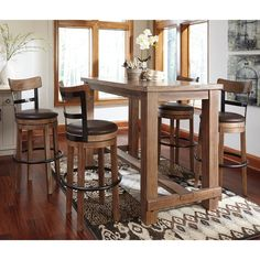 Pinnadel Dining Room Bar Table U0026 4 Tall UPH Swivel Bar Stools By Signature  Design By Ashley. Get Your Pinnadel Dining Room Bar Table U0026 4 Tall UPH  Swivel Bar ...