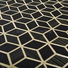 Black Gold Shiny Geometric Design Upholstery Soft Woven Chenille Pattern Fabrics in Crafts, Fabric | eBay