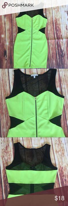 Charlotte Russe Neon green mesh Cutout zip dress Charlottte Russe Neon green  mesh Cutout zip up dress club party Sz m bodycon  Dress fully unzips Charlotte Russe Dresses Mini