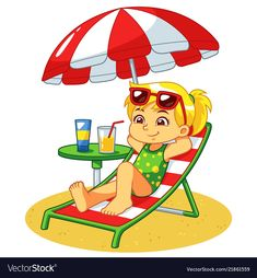 Girl sunbathing and relaxing on the beach vector image on VectorStock