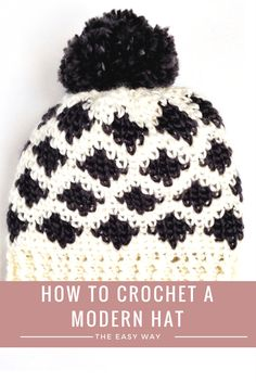 free crochet hat pattern / modern crochet pattern / learn how to graph your own crochet designs using stitch fiddle. This easy pattern using the center single crochet stitch to create a knit look hat.