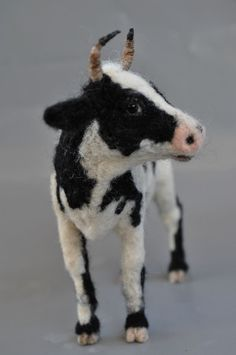 Needle Felted  Animal .Cow.