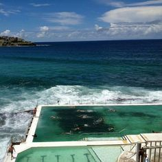 Sydney has several beachside saltwater pools. This one is at the beautiful Bondi Beach. Follow us on #Instagram: http://instagram.com/viatortravel