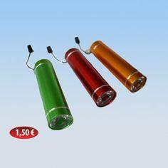 Μεταλλικός φακός LED σε διάφορα χρώματα 1,50 €