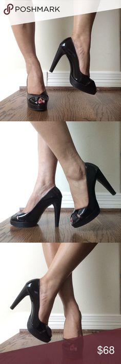 Stuart Weitzman Patent Peep Toe Shoes These beautiful peep toe black patent shoes includes 4 1/2 inch heels, size 8.5M, in excellent condition and extremely comfortable. Stuart Weitzman Shoes Heels