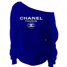 Chanel Paris Top Off-The-Shoulder Wide Neck Slouchy Sweatshirt These wide neck slouchy sweatshirts are cut symmetrically so you can choose whether you want to wear it off one shoulder or both. Either
