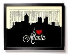 I Love Atlanta, Georgia City Skyline Dictionary Book Print Upcycled Book Art Upcycled Vintage Book Print Antique Dictionary Buy 2 Get 1 FREE