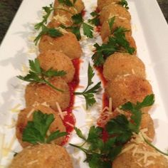 Mushroom  Parmesan Arancini with Spiced Tomato Sauce #canapes