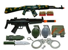 Kids Toy Army Weapon Gun Machine Guns Play Set with B/o Grenades & Handcuffs Kids Army Costume, Arma Nerf, Army Birthday Parties, Vito, Weapons Guns, Airsoft Guns, Hunting Rifles, Pokemon, Toy Soldiers
