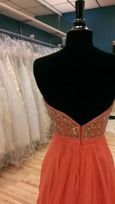 Orange Scoop Neck Prom Dress