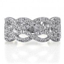 Sterling Silver Round Cubic Zirconia CZ Accent Woven Band Ring