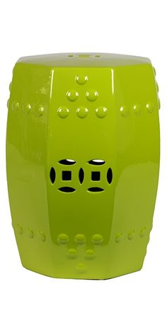 Garden Stools / Side Tables in Lime Green, so beautiful, one of over 3,000 limited production interior design inspirations inc, furniture, lighting, mirrors, tabletop accents and gift ideas to enjoy repin and share at InStyle Decor Beverly Hills Hollywood Luxury Home Decor enjoy & happy pinning
