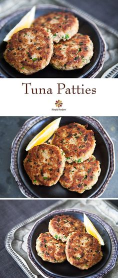 Tuna Patties by simplyrecipes: Quick, easy, and budget-friendly tuna patties, made with canned tuna, mustard, lemon, parsley, chives, bread, and hot sauce. #Tuna_Patties
