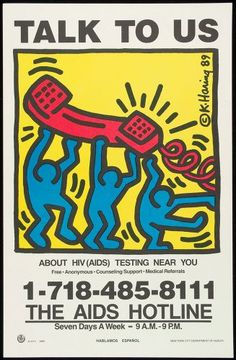 """""""Talk To Us About HIV (AIDS) Testing Near You"""" (Haring, Keith. New York Department of Health. New York, USA. English. 1989 (October).)  30 Years of AIDS: 6,200 Iconic Posters, 100 Countries, 1 Collector - The Atlantic"""
