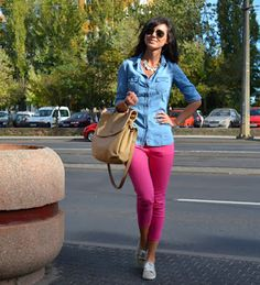 pink pants with a jeans shirt BEAUTY!!! No but wait, gotta have the Tennis Shoes with it
