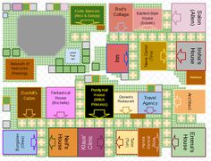 Map of how to get all the buildings on 1 map in Harvest Moon A New Beginning. #HarvestMoon #ANewBeginning
