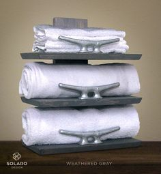 Rustic Nautical Towel Rack - 3 Shelves