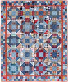 Hickory Hills: churn dash quilt by Pat Speth, made with plaids and stripes