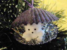 Teddy Bear in a Sea Shell Christmas Ornament Dark Purple | Uniqueshells - Seasonal on ArtFire