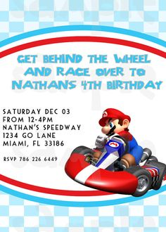 FREE Printable Mario Kart Birthday Invitation Set Super Mario Bros