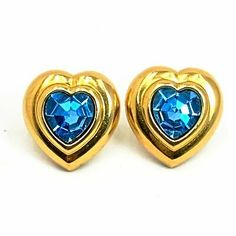 Avon Earrings BIRTHSTONE HEART 1989 Aquamarine Blue Rhinestone  | eBay Oxidized Sterling Silver, Sterling Silver Earrings, Rhinestone Earrings, Heart Jewelry, Jewelry Gifts, Vintage Costume Jewelry, Vintage Jewelry, Heart Piercing, Vintage Avon