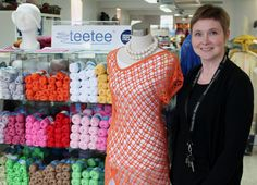 "TeeTee has a heavenly selection of yarns in every colour! You'll get great knitting tips from Niina Kaakkurivaara, who also designs yarns and knitting patterns. Here she is with ""Jodie"", a lopsided summer tunic beauty. www.visitporvoo.fi"