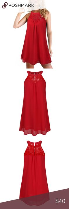 🆕 Lace Halter Neck Chiffon Swing Dress 100% Polyester, no stretch, woven fabric makes this dress super soft and comfortable to wear.  Size Chest: (S)34 (M)/36 (L)/39   Dress comes in 2 color choices: red or pink. Dresses Mini