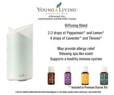 Diffuse - Lemon, Thieves, Peppermint, and Lavender - Young Living Essential Oils Independent Distributor 1746280 - Stephanie Fell - Get started with YLEO today - For Information on how to get your YLEO Premium Starter Kit: http://www.facebook.com/OilyGoodnessYLEO #OilyGoodnessYLEO