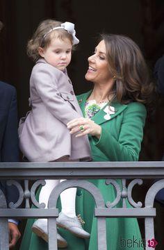Marie de Dinamarca y su hija Athena en el 75 cumpleaños de Margarita de Dinamarca