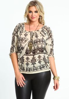 Plus Size Sheer Tribal Top and Necklace