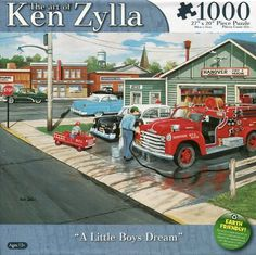 "1000 Pieces -- ""A Little Boy's Dream"" -- Art by Ken Zylla; Puzzle by Karmin International (No. 8561-2); Copyright 2013; Completed size: 27"" x 20""; Purchased at Deseret Industries in American Fork for $2.00 on 9 Dec 2014"