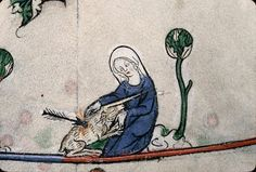 A virgin holding a wounded unicorn. According to medieval knowledge, a virgin could capture an unicorn as it would only go to her and lay its head in her lap and fall asleep. Verdun, Bibl. mun., ms. 0107, Breviary of Renaud de Bar, ca. 1302-1304 http://j.mp/1c9fNPC
