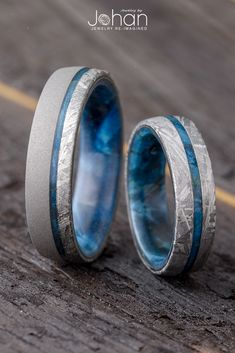 Meteorite looks good in any size! These wedding bands have blue box elder wood sleeves with matchin&; Meteorite looks good in any size! These wedding bands have blue box elder wood sleeves with matchin&; Petra K. Morganite Engagement, Rose Gold Engagement Ring, Diamond Wedding Bands, Titanium Wedding Bands, Meteorite Wedding Band, Silver Wedding Bands, Engagement Rings For Men, Matching Wedding Rings, Wedding Matches