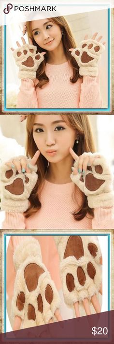 Bear Paw Gloves, Thick Warm & Fuzzy Material : Cashmere cotton blend. Adult size.                                                                                                            Size :Length:18.5cm/7.28in      Width:12cm/4.72in Because of the size measurements are handmade, so there may be 1-3CM error.   Package Includes : 1 Pair * Warm Gloves Accessories Gloves & Mittens