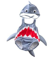 575a19170df0a Baby Boys Girls 3D Cartoon Shark Rash Guard Swimsuit Bathing Suit with Hat