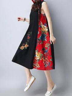 Vintage Women Patchwork Hooded Sleeveless Dresses Shopping Online - NewChic Mobile.