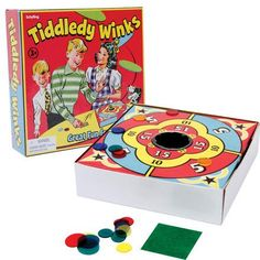 Send your winks flying! This old time classic continues to entertain. 2 -6 players can enjoy this fun filled point scoring game. Use the larger wink to flip the smaller ones toward the score board. Felt is included to improve control. Measures 6.75 x 6.87 x 1.75 in box. Ages 3 & up.