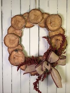 Hey, I found this really awesome Etsy listing at https://www.etsy.com/listing/219951951/wood-slice-wreath-woodsy-cabin-wreath