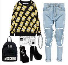 Black Yellow Round Neck Simpson Print Sweatshirt