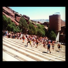 Want to do this! Elevation be damned!! Climbing the amphitheater stairs at the end of Run the Rocks 5k in Morrison, CO