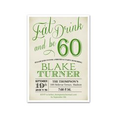 60th Birthday Invitation 30th 40th 50th Any Age Chalkboard