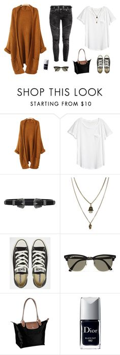 """""""🌾✌🏼💛"""" by xofashionismylovexo ❤ liked on Polyvore featuring Lovers + Friends, Jamie Jewellery, Converse, Ray-Ban, Longchamp and Christian Dior"""
